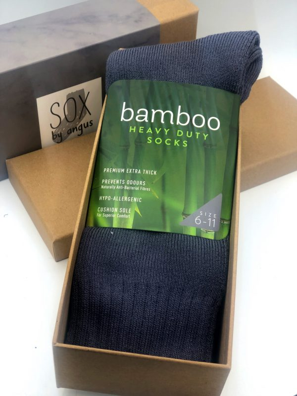 Gift Box-Bamboo heavy duty socks-Grey