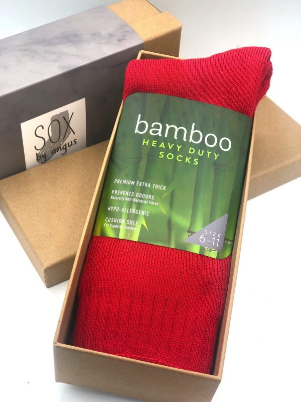 Gift Box-Bamboo heavy duty socks-Red