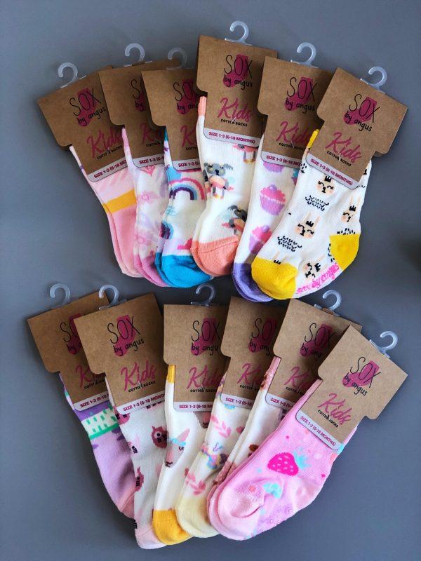 Baby Girl Cotton Fashion Crew Socks-12 pair pack