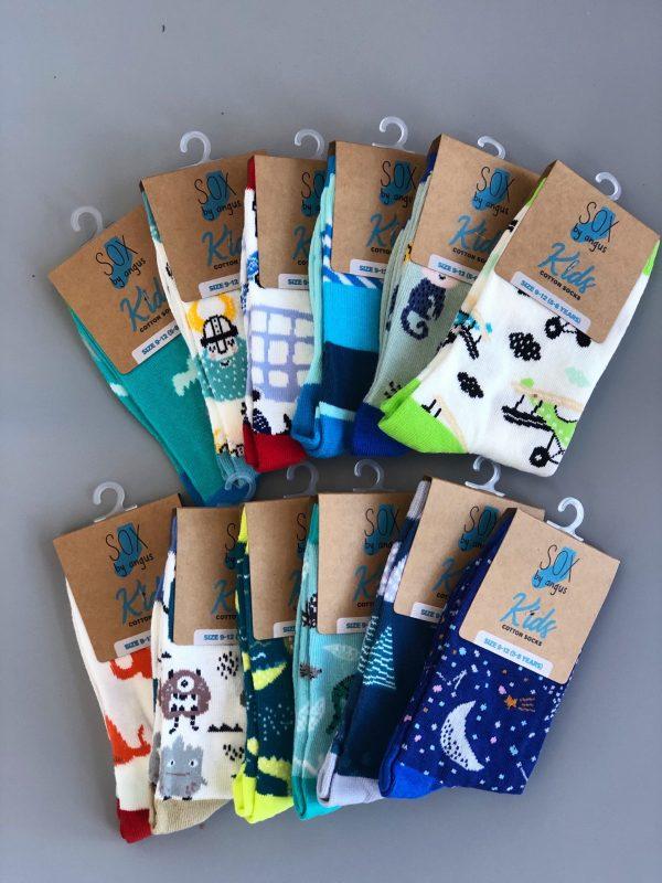 Boy Cotton Fashion Crew Socks-12 pair pack