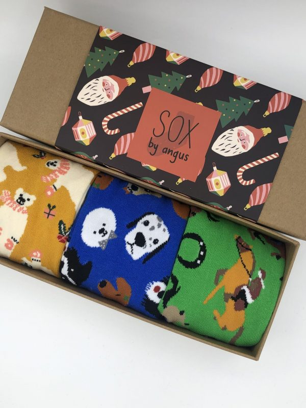 X'mas Gift Box A (Combed cotton novelty socks)