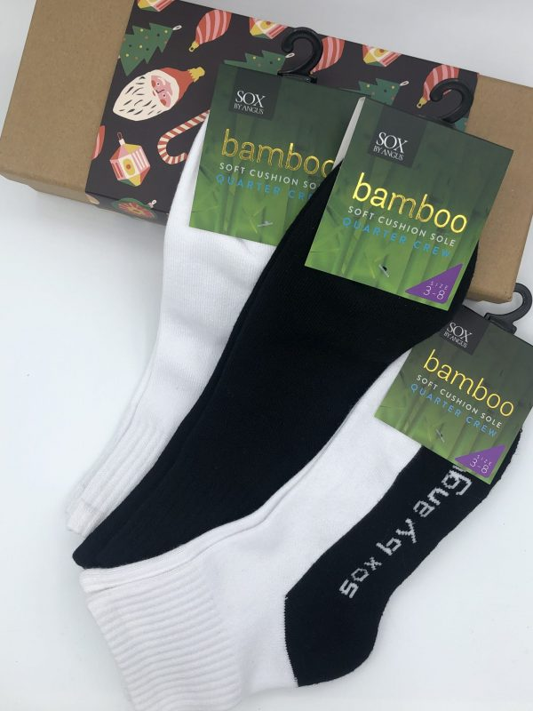 X'mas Gift Box G (Bamboo 1/4 crew cushion sole sport socks)