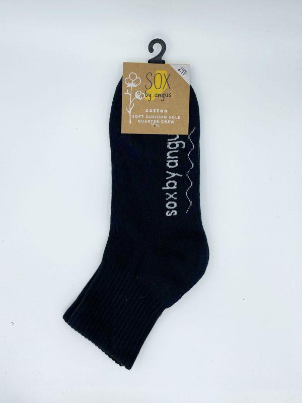 Cotton Quarter Crew Cushion Socks – Black