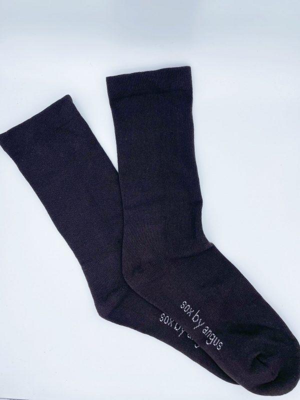 Cotton Plain Cushion Foot Loose Top Socks – Brown