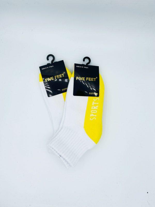 Cotton Quarter Crew Cushion Socks – White/Yellow 2PK
