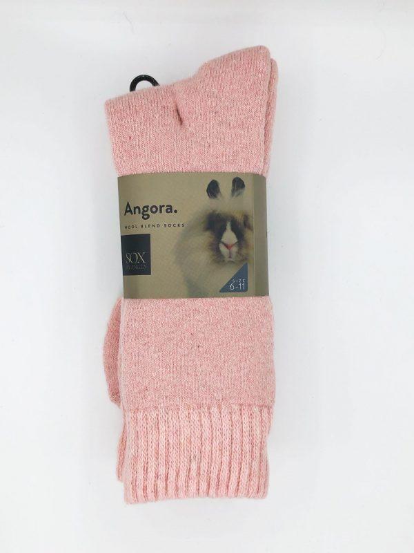 Angora Wool Blend Socks 2 Pair Pack – Powder Pink