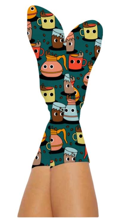 COFFEE BUZZ SOCKS-Digital Printed Bamboo Novelty Socks