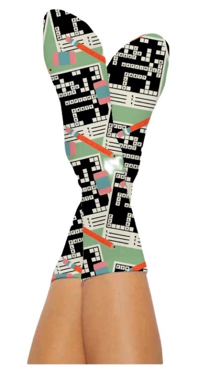 CROSSWORD SOCKS-Digital Printed Bamboo Novelty Socks