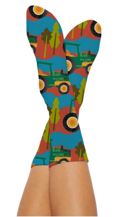 TRACTOR TRIP SOCKS-Digital Printed Bamboo Novelty Socks